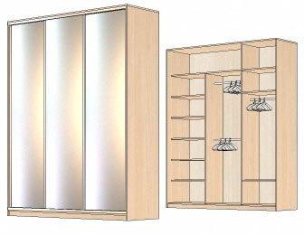 зеркальные шкафы купе, шкаф купе в спальню, гардеробный шкаф купе, зеркальные фасады